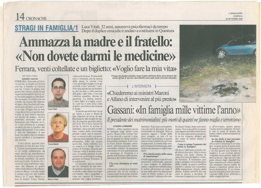 """28-settembre-20081 Gassani: """"In famiglia mille vittime all'anno"""