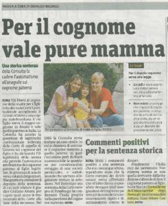 articolo-1-245x300 Per il cognome vale pure mamma - Commenti positivi per la sentenza storica