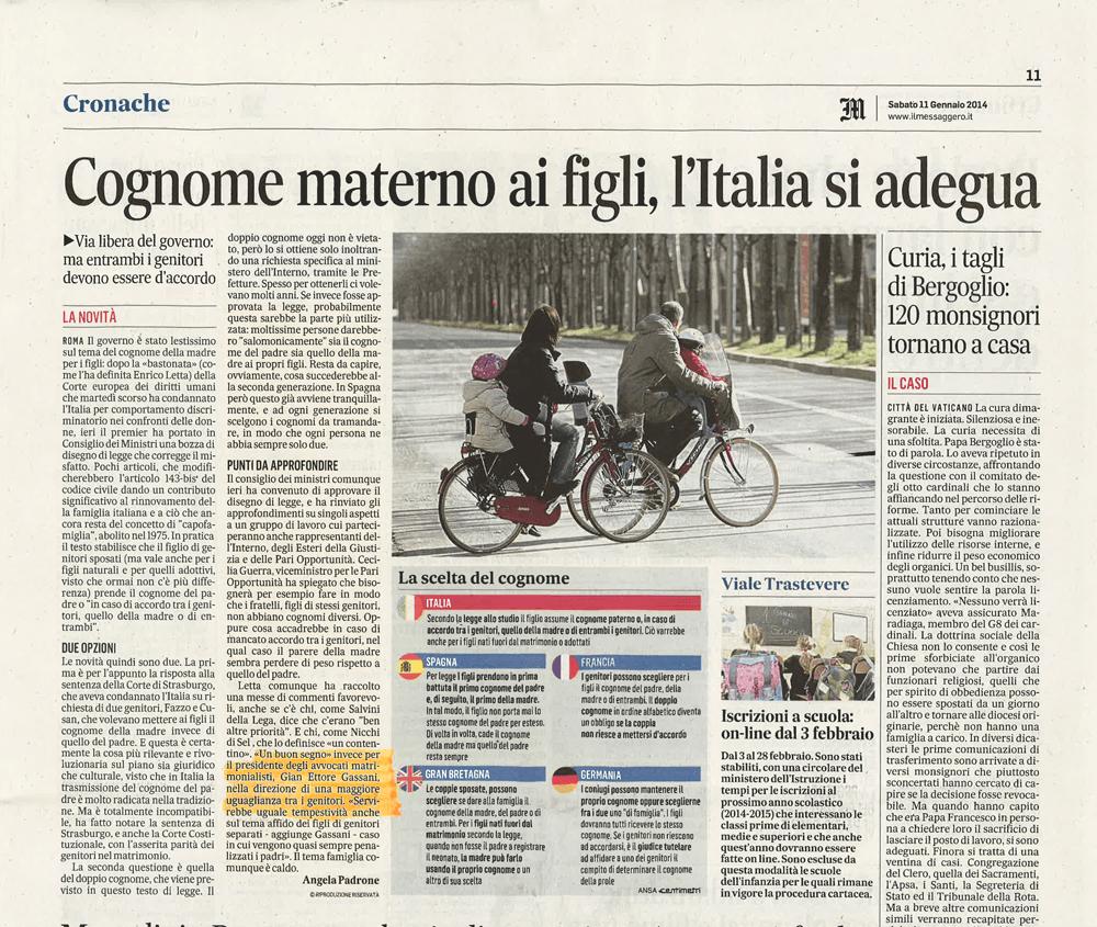 cronache Cognome materno ai figli, l'Italia si adegua